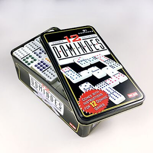 Dominoes Double 12 Coloured Dot in a Tin