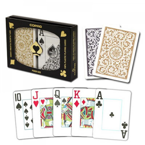 Copag Black and Gold Double Deck Jumbo IndexPoker Cards