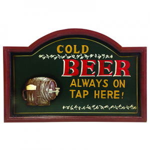 Cold Beer - Wooden Bar Sign