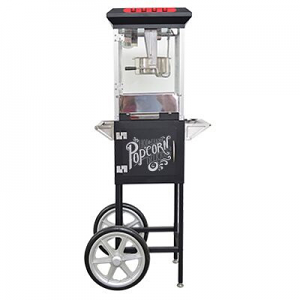 Popcorn Cart Vintage Hot Fresh Collection Black