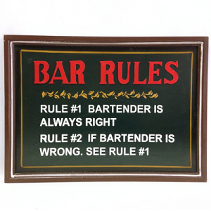 Bar Rules - Wooden Bar Sign