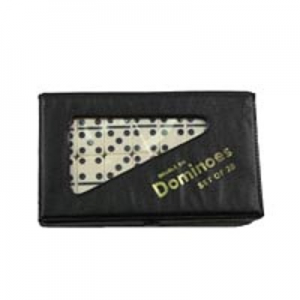 Double 6 Small Ivory Dominoes in Vinyl Case