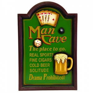 Man Cave No Drama Allowed - Wood Bar Sign