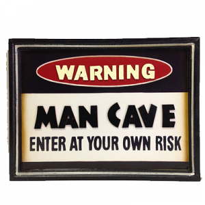 Man Cave Warning - Wooden Bar Sign