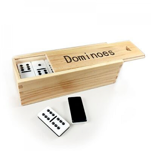 Dominoes Double 6 Deluxe 2 Tone Jumbo - Wooden Box