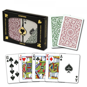 Copag Poker Size Regular Index Double Deck Green and Burgandy